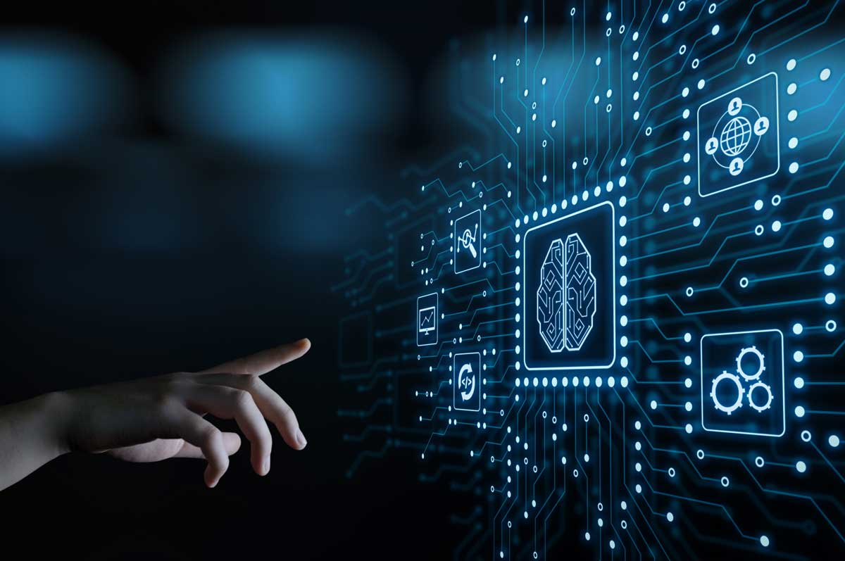 Eine Hand zeigt auf abstrakte Symbole zur künstlichen Intelligenz.