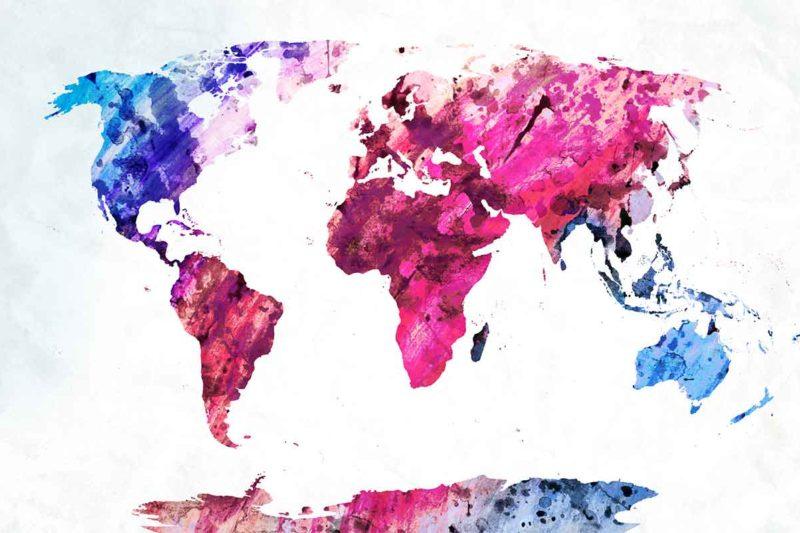 Man sieht eine Weltkarte in Pink-, Lila und Blautönen.