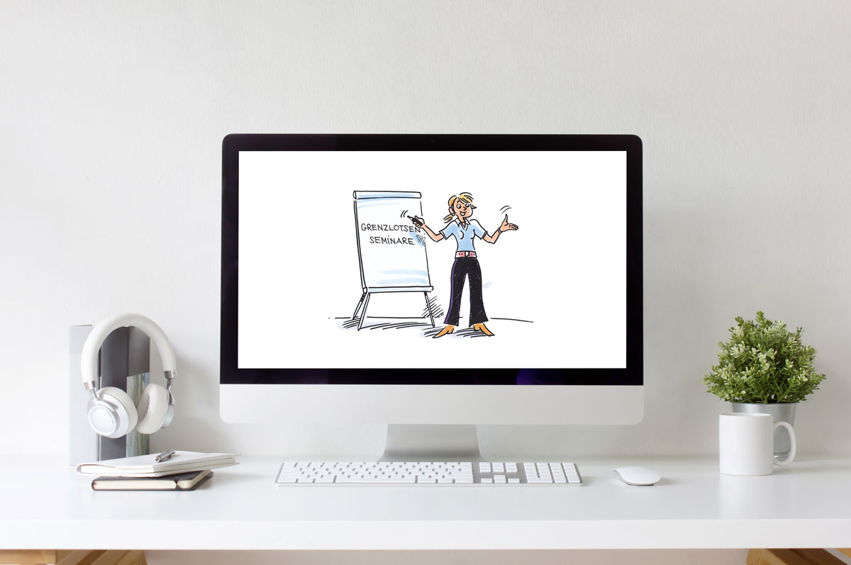 Ein Computerbildschirm, auf dem eine Grafik von Grenzlotsen zu Seminaren zu sehen ist.